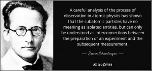 ... of an experiment and the subsequent measurement. - Erwin Schrodinger