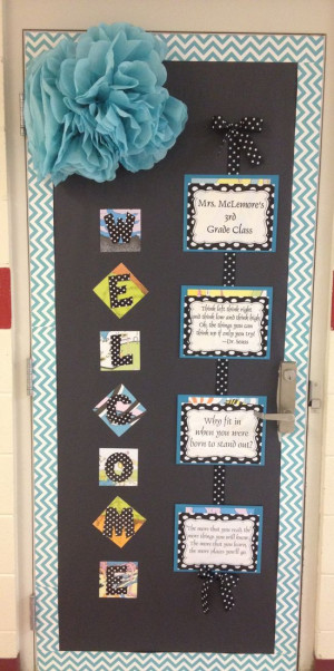 Dr. Seuss Chevron Quotes Classroom Door with CTP's NEW Turquoise ...