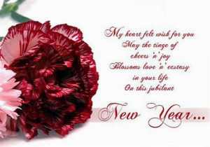 wishing lover happy new year with rose