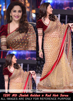 Madhuri Dixit Style Patch Border Work Beige And Red Net Saree Prev
