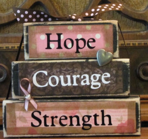 Hope, Courage, Strength Breast Cancer Awareness Word Stacker ...