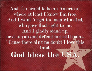God Bless the USA...Lee Greenwood