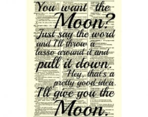 Lasso the Moon, It's a Wonderfu l Life Quote, Dictionary Print, Buy 2 ...