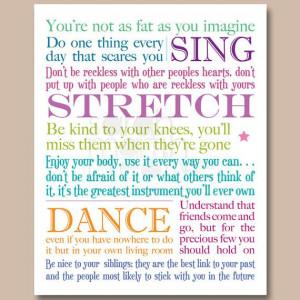 8x10 inch Lyrics Print - Baz Luhrmann - Everybody's Free To Wear ...