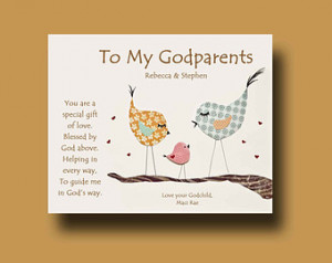 ... and Godfather - Gift from Godchild - Godparents Baptism Keepsake