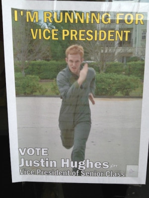 Justin Hughes is running for vice president of senior class and just ...