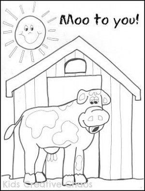 Big Red Barn Cow Coloring Sheet for Preschool Creative Country Sayings ...