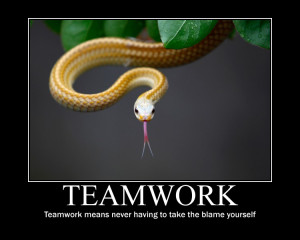 """Teamwork Means Never Having To Take The Blame Yourself """""""