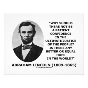 Abraham Lincoln Patient Confidence Justice Quote Custom Announcements