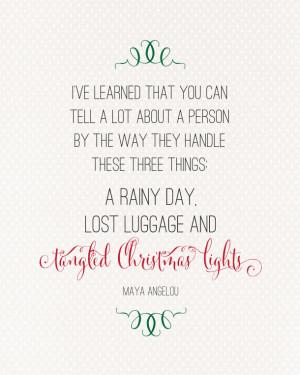 Tangled Christmas Lights Maya Angelou Quote | landeelu.com So true!
