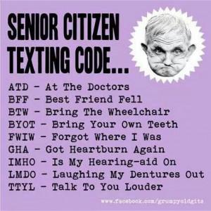 Aunty acid senior citizens texting code