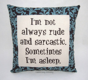Funny Cross Stitch Pillow, Brown Pillow, Rude and Sarcastic Quote. $25 ...