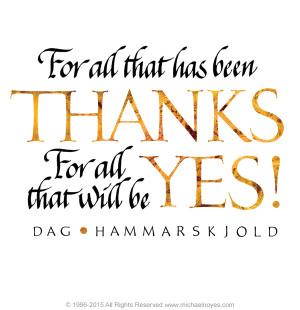 Hammarskjold, Thanks - Yes!, Calligraphy Art Plaques, Inspirational ...