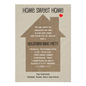 Housewarming Party Invitation -- Burlap House Announcement