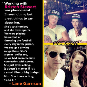 ... pics with quote of Lane Garrison on his mind about Kristen Stewart