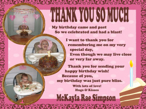 her birthday and the birthday thank you wording this is how it turned ...