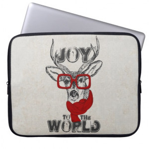 Cool Funny Deer Sketch Joy The World Quote Laptop Sleeve