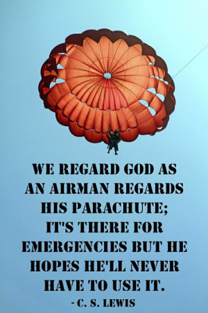 We regard God as an airman regards his parachute, it's there for ...