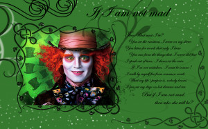 Alice in Wonderland (2010) Mad Hatter Wallpaper - If I Am Not Mad