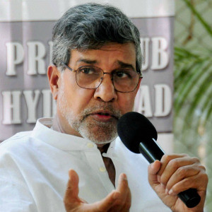 Nobel laureate Kailash Satyarthi interacts with the media in Hyderabad ...