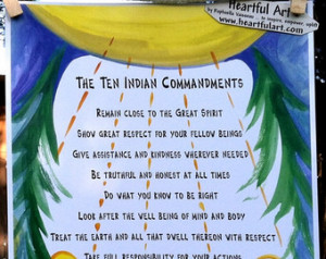 TEN INDIAN COMMANDMENTS Native American Wisdom Inspirational Quote ...