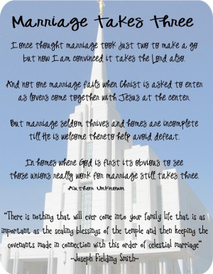 We Are Daughters of a Heavenly King: Temple Marriage-It Takes 3!!!