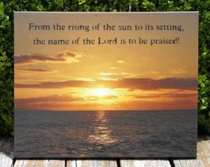 Scripture Wall Art (Bible Verse), Sunset over the Ocean, Photograph by ...