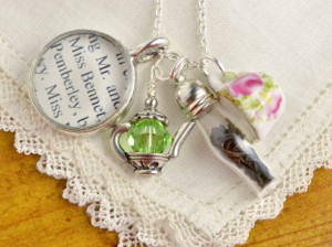 ... Jane Austen Quote and Tea Charms - Personalized Tea Jewelry on Etsy, $