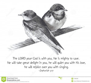 ... birds on a wire, along with a Bible text from the book of Zephaniah