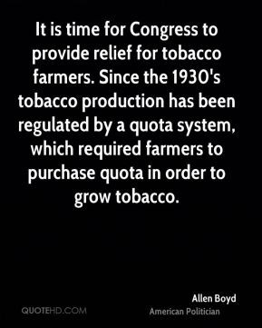 It is time for Congress to provide relief for tobacco farmers. Since ...
