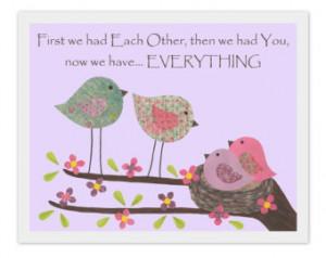 ... quote, birds, baby, love, nest, pink, purple, lavender, girl, flowers