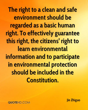 ... in environmental protection should be included in the Constitution