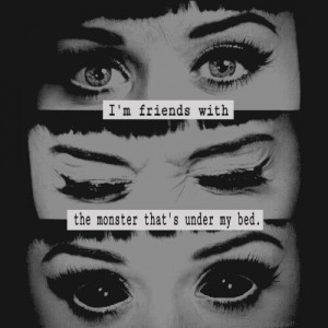 ... for this image include: monster, katy perry, eyes, black and rihanna
