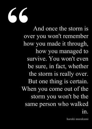 going pass through the storm   Well Said...Well Done...It's Well...