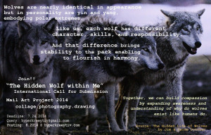 """... Hidden Wolf Within Me,"""" International Mail Art Call for Submission"""
