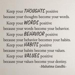 ... positive... Gandhi Inspirational Motivational Vinyl Wall Decal Quotes