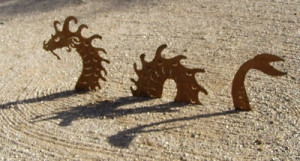 Sea Serpent Dragon 3 Piece Metal Lawn Garden Sculpture Statue Rusted ...
