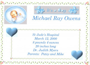 Baby boy birth quotes quotesgram for Boy birth certificate template