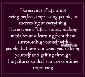 Life Is Not Being Perfect