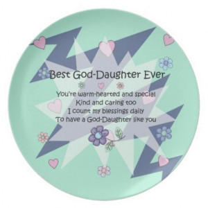 For GodDaughter Gift with Hearts & Flowers & Poem Dinner Plates
