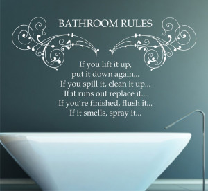 Bathroom Rules Quote, Vinyl Wall Art Sticker Decal Mural, Bedroom