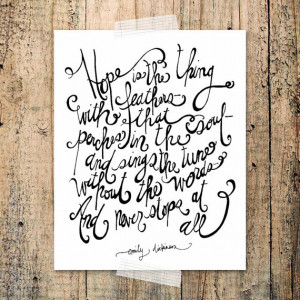 Hope is the thing with feathers 8x10 Print - white/ chalkboard ...