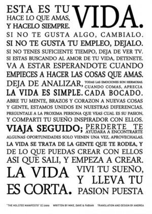 El manifiesto Holstee en español (de Argentina)