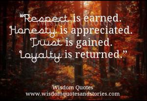Respect, Trust, Loyalty...