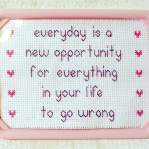 Every day is a new opportunity funny framed cross stitch - Thumbnail 1