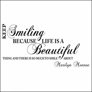 Keep Smiling Marilyn Monroe Wall Quote Sticker