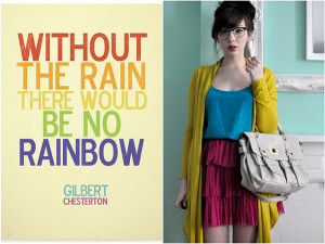 colorful, cute, dress, girl, quotes, rain, rainbow, style, sweet ...