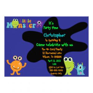 Little Monster Birthday Party Invitation