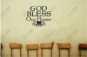GOD BLESS OUR HOME Vinyl wall lettering quotes and sayings home Wall ...
