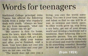 Words for Teenagers 1959
